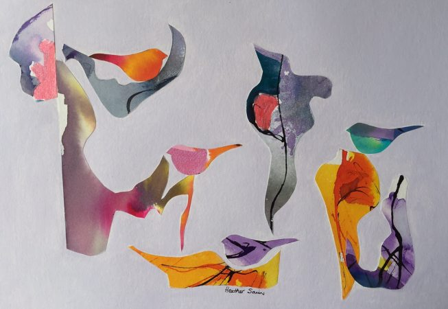 Singing Birds (24) Mixed Media on paper 35cm x 27cm