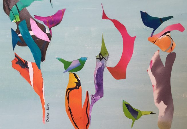 Singing Birds 27 Mixed Media on paper 20x25cm