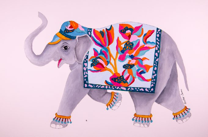 Must hurry the Elephant Festival is on  41cmx29cm Acrylic,watercolour and collage on paper