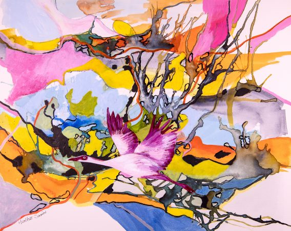 Another beautiful place to fly over! 34cmx27cm Acrylic,watercolour and collage on paper