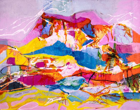 Love those colours from up where I am! 35cmx27cm Acrylic and collage on paper