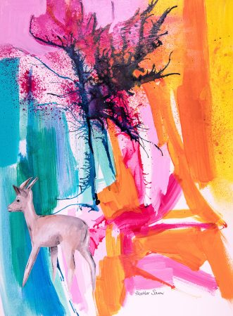 Deer loved spring! 35cmx27cm  Acrylic,watercolour and collage on paper