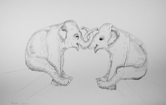 Great to see you - lot's to catch up on! 41cmx29cm  Pencil on paper