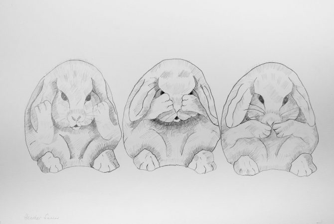 Our mum taught us to see,  speak and listen to only good things. 41cmx29cm  Pencil on paper