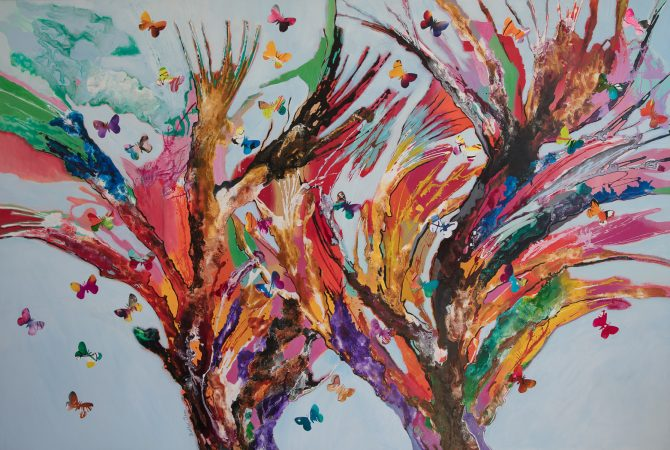 We need lot's of butterflies. How many are there? 152cmx102cm Mixed media on canvas