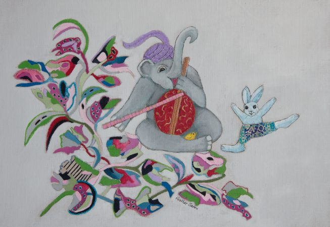 Rabbit was keen to show off his new dance steps! 38cmx27cm Acrylic,embroidery and silk on linen