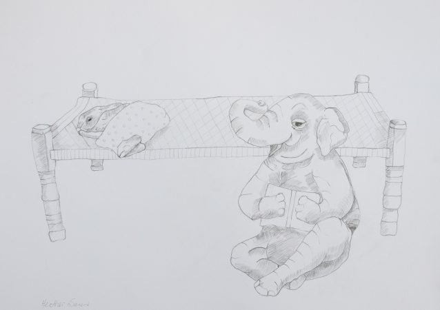 Elephant can tell a story without even looking at the book! 41cmx29cm  Pencil on paper